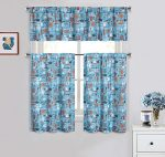 Cotton Blend 3 Piece Kitchen/Cafe Tier Window Curtain Set: Blue with Kitchen Utensil Design