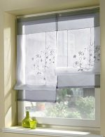 Uphome 1pcs Country Style Embroidered Flower Voile Roman Curtain – Silk Ribbon Lifting Back Tab/Rod Pocket Sheer Window Curtain,39 x 55 Inch,Grey