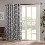Madison Park Saratoga Fretwork Print Patio Window Curtain, 100×84″, Grey