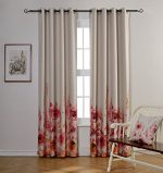 Mysky Home Floral Design Print Grommet top Thermal Insulated Faux Linen Room Darkening Curtains for Living Room, 52 x 84 inch, Red (1 Curtain Panel)