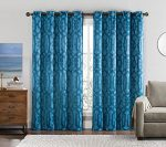 Set of 2 Panels 104″Wx84″L -Royal Tradition – Becket- Teal Blue- Blackout Weave Embossed Gromment Window Curtain Panels. Blocks 90% of light and Reduce outside noise, 52-Inch by 84-Inch each Panel. Package contains set of 2 panels 84 inch long.