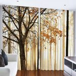 Curtains for Living Room by Ambesonne, Fall Trees Woodsy Country Theme Home Decor Dining Room Bedroom Curtains 2 Panels for Kids Room Window Treatments, 108 x 84 Inches Wide, Yellow Brown