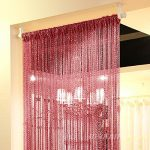Topixdeals 37 X 76 Inch Rare Flat Silver Ribbon Door String Curtain Thread Fringe Window Panel Room Divider Cute Strip Tassel Party Events (Claret)