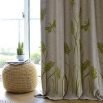 Melodieux Wheat Embroidery Linen Finishing Window Blackout Noise-Free Grommet Top Curtains for Kids Room 52 by 84 Inch Beige/Green 1 Panel