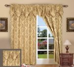 Elegance Linen Luxury Jacquard Curtain Panel Set with Attached Valance 55″ X 84 inch (Set of 2), Gold