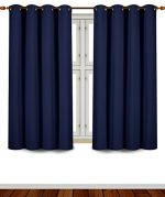 Blackout Room Darkening Curtains Window Panel Drapes – (Navy Blue Color) 2 Panel Set – 52 inch wide by 63 inch long each panel – 8 Grommets / Rings per panel – 2 Tie Back included- By Utopia Bedding