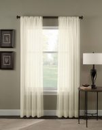 Curtainworks Trinity Crinkle Voile Sheer Curtain Panel, 51 by 84″, Oyster