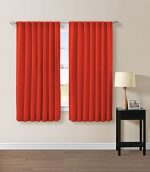 Solid Back Tab Thermal Insulated Blackout Window Curtain 104″Wx63″L -1 Pair (Tangerine)