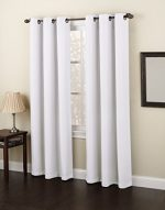 Gorgeous Home *DIFFERENT SOLID COLORS & SIZES* (#86) 1 PANEL SOLID FOAM LINED BLACKOUT JACQUARD WINDOW CURTAIN DRAPES BRONZE GROMMETS (WHITE, 84″ LENGTH)