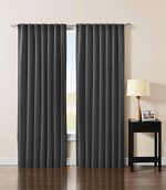 Solid Back Tab Thermal Insulated Blackout Window Curtain 104″Wx84″L -1 Pair (Charcoal)