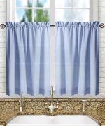 Ellis Curtain Stacey 56-by-45″ Tailored Tier Pair Curtains, Slate