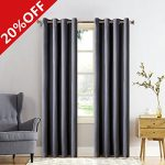 MEROUS Window Treatment Thermal Insulated Solid Grommet Blackout Curtains / Drapes for Bedroom (Set of 2 Panels,5263inch,Dark grey)