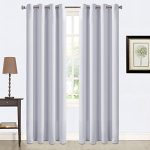 Balichun 2 Panles Blackout Curtains Thermal Insulated Grommets Drapes for Bedroom/ Living Room 52 by 84 Inch Grayish White