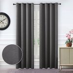 Nicetown Three Pass Microfiber Noise Reducing Thermal Insulated Damask Embossed Ring Top Blackout Window Curtains / Drapes (1 Panel,52 x 84 Inch,Gray)