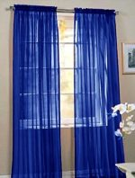 LuxuryDiscounts 2 Piece Solid Royal Blue Elegant Sheer Curtains Fully Stitched Panels Window Treatment Drape 60″ X 84″