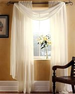 Gorgeous Home 3PC BEIGE CREAM VOILE SHEER WINDOW CURTAIN SET 2 PANEL 1 VALANCE SCARF TREATMENT DRAPE SWAG TOPPER 84″ LENGTH