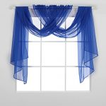 Deconovo Rod Pocket Drapes Solid Color Sheer Curtains Faux Linen Curtains Sheer Window Curtains for Living Room 52W x 84L Inch Royal Blue Set of 2