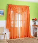 LuxuryDiscounts 2 PC Solid Rod Pocket Sheer Window Curtain Treatment Drape Voile Panels In Variety Of Colors (55″X63″, Orange)