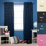 Best Home Fashion Star Print Thermal Insulated Blackout Curtains – Back Tab/ Rod Pocket – Navy – 52″W x 84″L – (Set of 2 Panels)