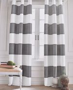 Tommy Hilfiger Grey Cabana Stripe Curtains 2 Panels 50 by 96-inch Eyelet Heading Modern Window Drapes Cotton 2 Panels Grommet Top Gray White Wide Stripes