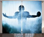 Sports Decor Curtains by Ambesonne, Heroic Shaped Rugby Football Player Silhouette Shadow Standing in Fog Playground Photo, Living Room Bedroom Window Drapes, 2 Panel Set, 108W X 84L Inches, Blue