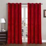 Comforhome Solid Soft Velvet Window Curtain Grommets Drapes Red 52″ x 63″ (1 Panel)