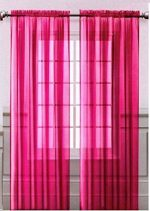 Onestopshop's Hot Pink Voile Sheer Panel Drape Curtain for Your Window Fully Stitched and Hemmed 55×84″