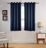 MYSKY HOME Solid Grommet top Thermal Insulated Window Blackout Curtains for Kids Bedroom, 52 by 63 inch, Navy (1 panel)