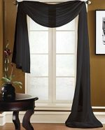 Gorgeous Home 1 PC SOLID BLACK SCARF VALANCE SOFT SHEER VOILE WINDOW PANEL CURTAIN 216″ LONG TOPPER SWAG