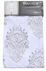 Envogue Medallion Window Curtains Gray Taupe Torino Damask Paisley Pair of Curtains 2 window panels 50 by 96-inch Grey Beige
