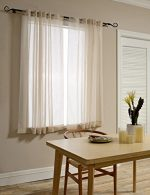 Mysky Home Back Tab and Rod Pocket Window Crushed Sheer Curtains for Living Room, Wood Beige, 51 x 63 inch, (Set of 2 Crinkle Sheer Curtain Panels)