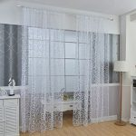 Edal Fashion Floral Tulle Voile Door Window Curtains Drape Panel Sheer Scarf Valances White
