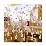 LingStar 1m Glass Crystal Beads Chain Curtain Window Passage Wedding Backdrop Pink Butterfly 1pcs
