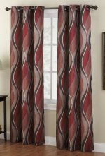 No. 918 Intersect Wave Print Casual Textured Curtain Panel, 48″ x 63″, Paprika Red
