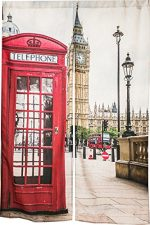 KARUILU home Japanese Noren Doorway Curtain / Tapestry with Big Ben and Red Phone Booth in London 33.5″ Width x 47.2″ Long