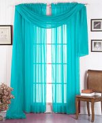 GorgeousHomeLinen 3PC Turquoise 2 Sheers 84″ length Rod Pocket Window Curtain Panels & 1 Elegant Swag Scarf Valance 216″ length