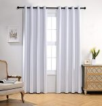 Miuco 1 Pair Thermal Insulated Grommet 52-Inch-by-84-Inch Blackout Window Curtain Panels with 2 Tie Backs, Greyish White