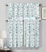 3 Piece Semi Sheer Window Curtain Set: Botanical Design, 2 Tiers, 1 Valance (Teal Blue and White)