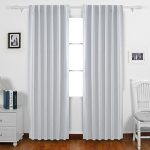 Deconovo Back Tab and Rod Pocket Curtains Blackout Curtains Thermal Insulated Drapes and Curtains Room Darkening Curtains for Living Room 52 x 84 Inch Grey White 2 PaneLs