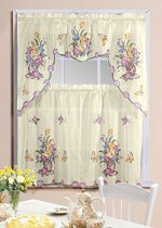 Butterfly Printed Kitchen Curtain Swag Set