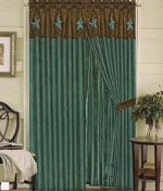 Texas Western Embroidery Star Suede Curtain With Lining – 60″x84″+18″ (2 Pannels)