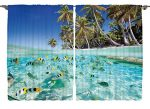 Scenery Decor Underwater Ocean Tropical Island Butterflyfish Fish Beach Ocean Decor Artistic Picture Blue Curtains Palm Trees 55 X 39 Inch Decorations for Kitchen Curtain Panels Set of 2 Panels