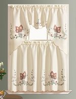 DANCING BUTTERFLY. 3pcs Multi-color embroidery kitchen curtain/ cafe curtain set with cutworks. (BURGUNDY)