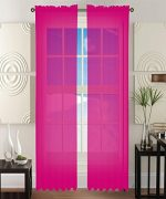 2 Piece Solid Hot Pink Sheer Window Curtains/drape/panels/treatment 60″w X 84″1