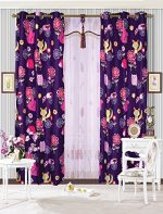 Mk Collection 2 Panel Curtain with Grommet Teens/girls Owl Fox Animals Purple New