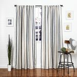 Homier Navy Blue Striped Linen Blend Window Curtain/drape/panel/treatment/covering – Rod Pocket Panel – Nautical Narrow Denim Stripes on Modern White/Cream Linen – 50 x 84 Inches, 1 Panel