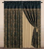 Chezmoi Collection Lisbon 4-Piece Jacquard Floral Window Curtain Set Sheer Backing Tassels Valance, Black/Gold