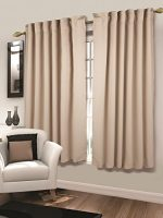 Tailormader 2 Piece Top Thermal Insulated Blackout Curtain Heavy Duty Fabric 52″x84″ (Beige)