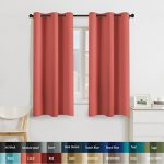 Turquoize Solid Blackout drapes, Room Darkening, Coral, Themal Insulated, Grommet/Eyelet Top, Nursery/Living Room Curtains Each Panel 42″ W x 63″ L (Set of 2 Panels)