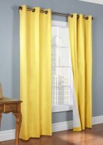 Gorgeous Home LinenVarious of Colors & Sizes 1 PC #72 , Solid Insulated Foam Backing Lined Blackout Hotel Quality Grommet Top, Silk Window Curtain Panel (84″ Length, Yellow)